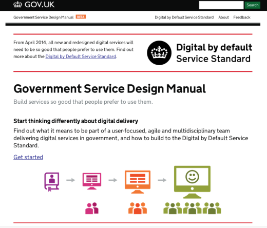 Government Service Design Manual beta homepage
