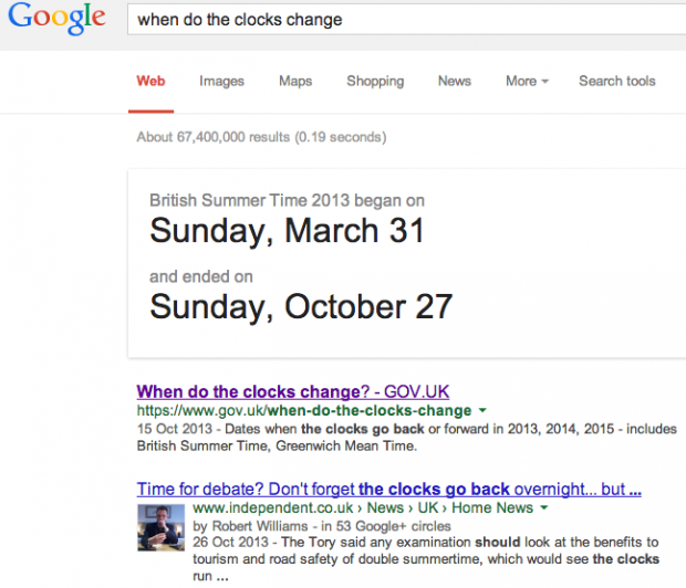 When do the clocks change: Google Search