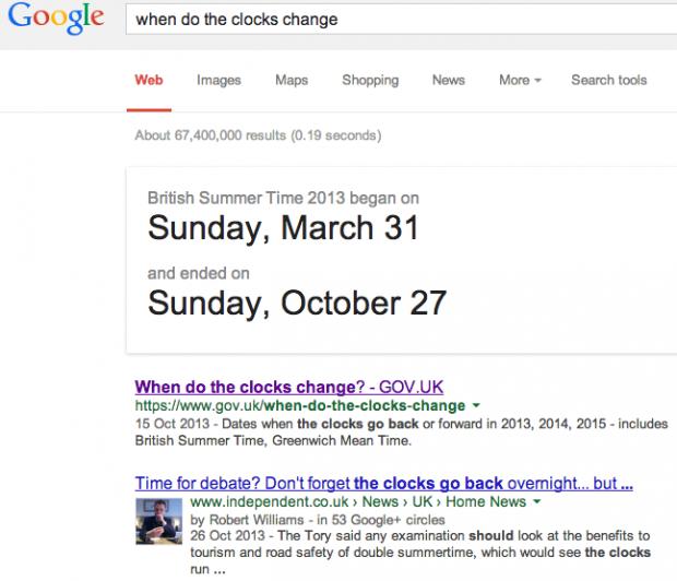 When do the clocks change: Google Search