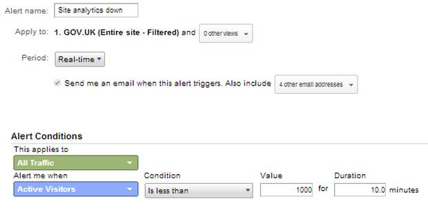 Example of a custom alert configuration