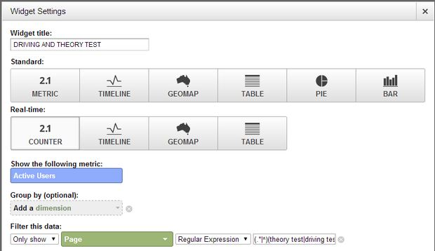 Widget settings for active searches of driving and theory test