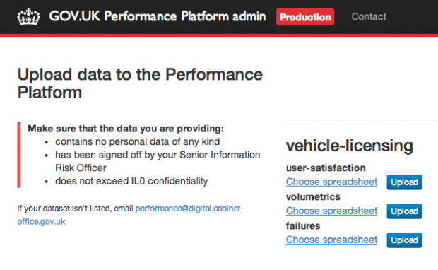 Screenshot of the admin app showing data-sets for DVLA users