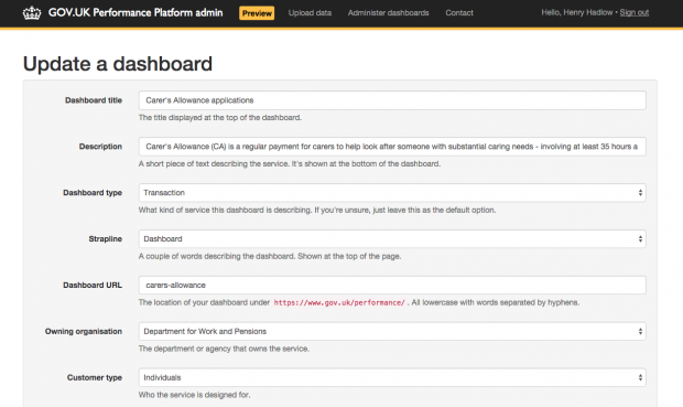 Performance Platform admin app – update a dashboard