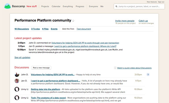 The new Peformance Platform community on Basecamp