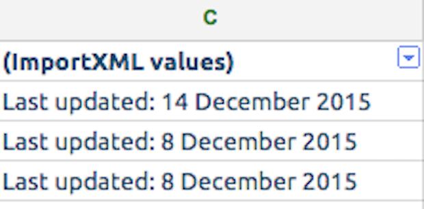 Last updated on spreadsheet