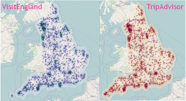 VisitEngland map compared to TripAdvisor map showing density of sites across England