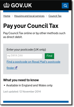 Screen shot of 'Pay your Council Tax' page on GOV.UK