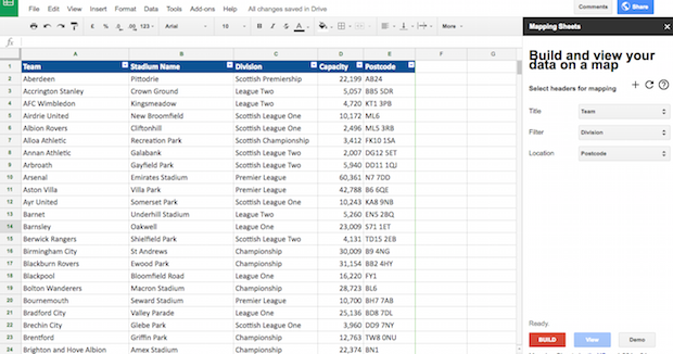 Building the map from Google Sheets