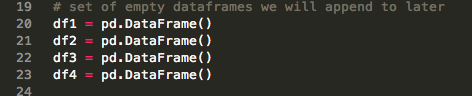 Declare empty dataframe variables