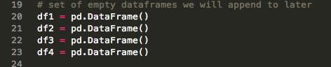 Declare empty dataframe variables
