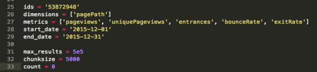 Declaring variables to set the Reporting API Parameters