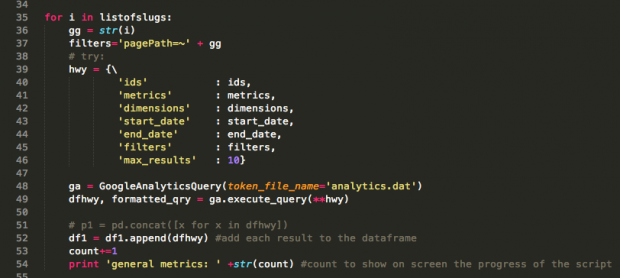 The for loop that calls the Reporting API