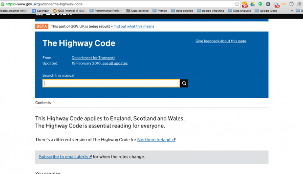 The new highway code page