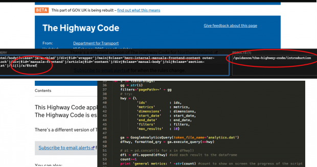 highwaycode, xpath and python script