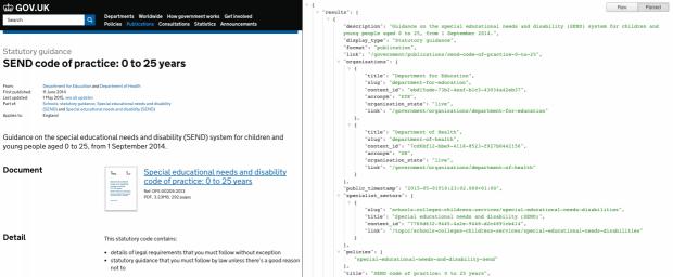 API data for a GOV.UK page