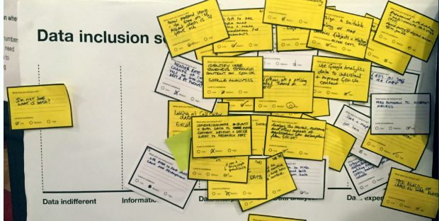 Data inclusion scale - with post-its showing where different users felt they were positioned