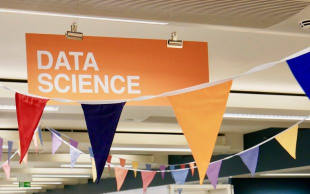 Banner hanging from the ceiling saying 'Data Science'