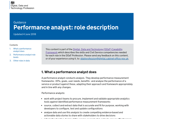 A screen shot of tthe performance analysis role description on the DDaT website