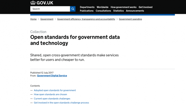 A screenshot of the GOV.UK open standards website with the heading 'Open standards for government data and technology' and a description of the site: 'Shared open cross-government standards make services better for users and cheaper to run'.