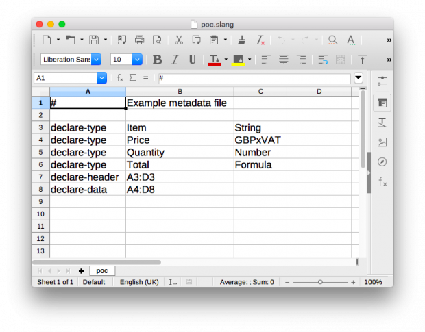an example metadata file included within a spreadsheet, e.g. the declare-type for Quantity is Numbe