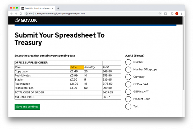 A mock-up of a service that allows a user to upload a spreadsheet and describe the data within it e.g. data type is number or currency.