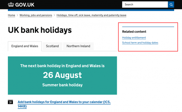 "Image showing the UK bank holiday page on GOV.UK, with a right side panel showing two related content links, namely ""Holiday entitlement"" and ""School term and holiday dates"""