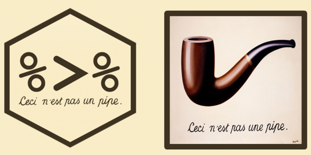An image of the magrittr logo (%>%, or a pipe in R), cmpared to Magritte's The Treachery of Images (a pipe)