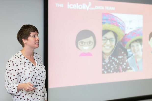 photo of Gemma Elsworth presenting a slide on the 'Ice lolly data team'