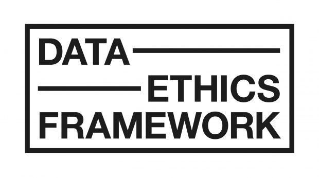 Logo with black text that reads Data Ethics Framework with a black border
