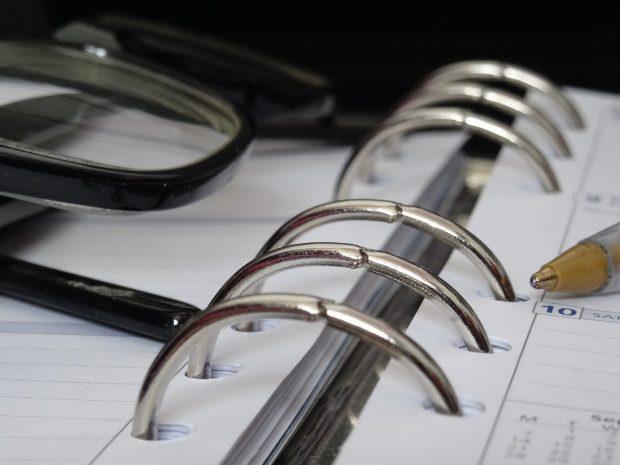 Close-up shot of ring-binder diary