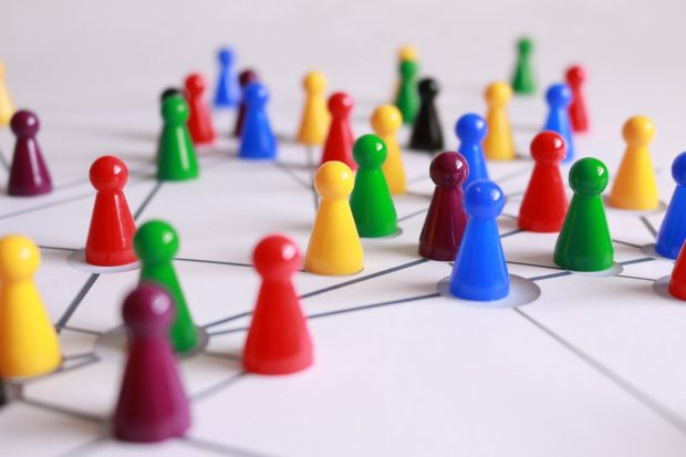 A game board representing strategic links between people.