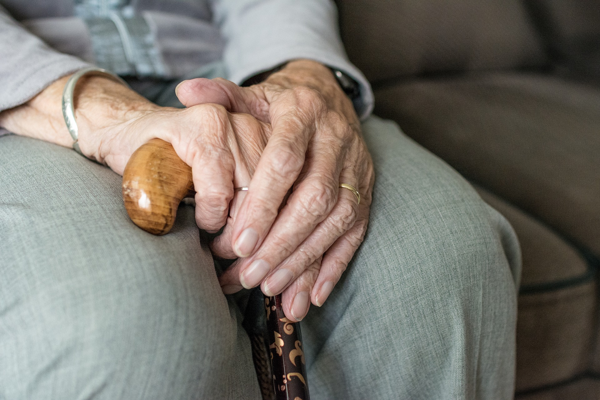 The hands of an older person, holding a walking stick