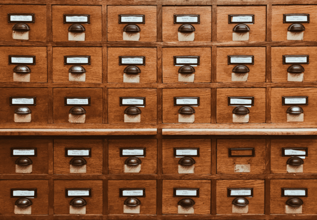 An image of a library index card system.